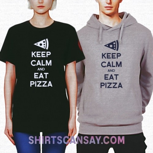 KEEP CALM AND EAT PIZZA 크루넥 이미지