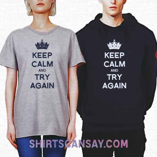 KEEP CALM AND TRY AGAIN 크루넥 이미지