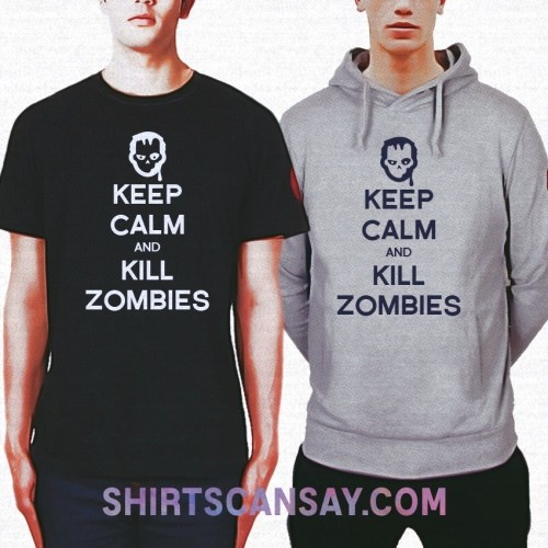 KEEP CALM AND KILL ZOMBIES 크루넥 이미지